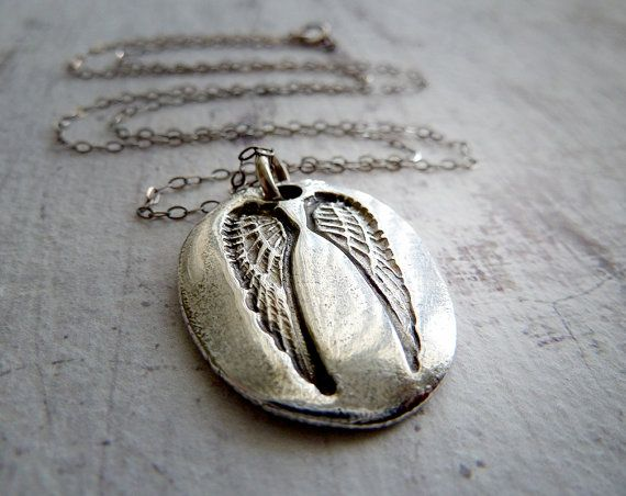 Guardian Angel Wing Necklace. Sterling Silver. Fine Silver Artisan Jewelry. Protection Symbol on Etsy, $75.00