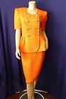 80's Vintage ESCADA Quilted TANGERINE ORANGE 2 Piece Blazer Skirt Suit Sz 38 4 S