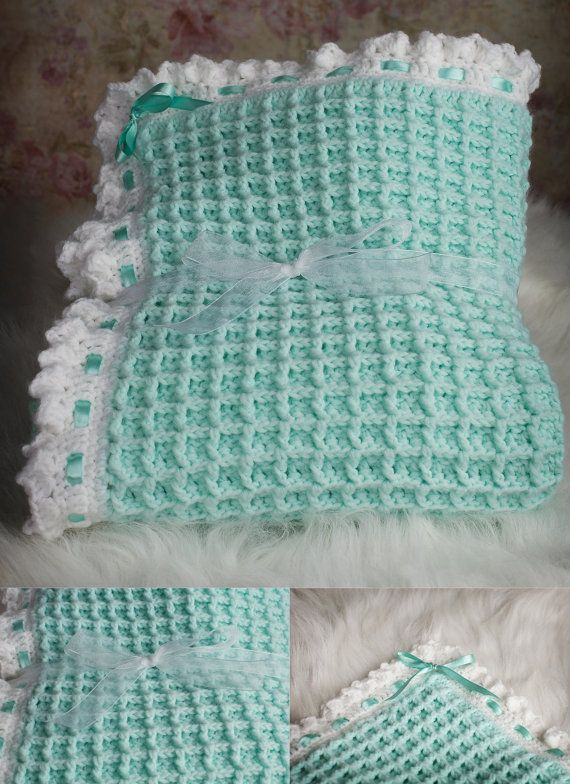Waffle stitch baby blanket by RuthiesDaughter on Etsy