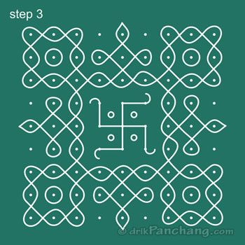 9x9 Dot Rangoli Step 3                                                                                                                                                                                 More