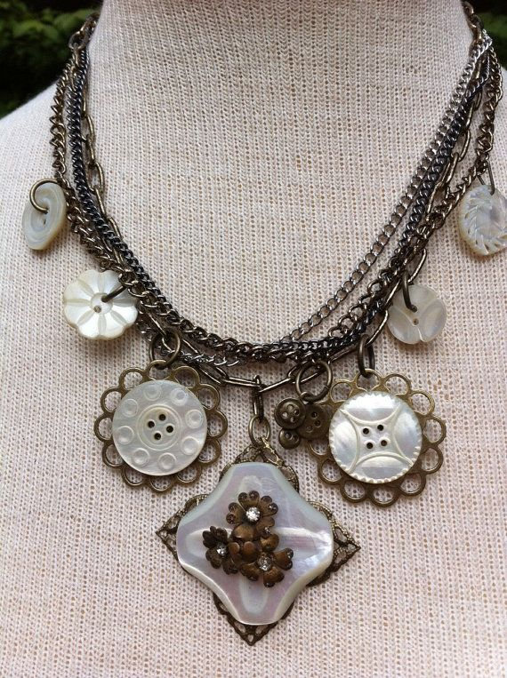antique-button-statement-necklace-carved