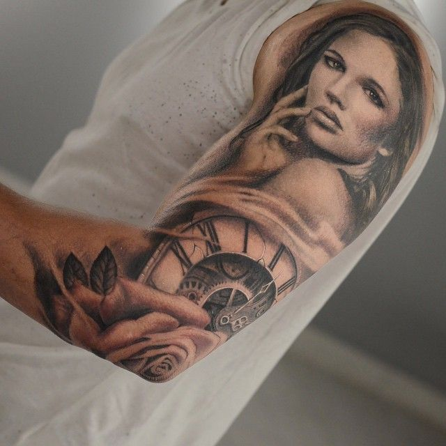 Black and grey 3/4 sleeve by Darwin Enriquez. #portrait #clock #rose #flower #tattoo