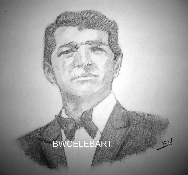DEAN MARTIN ROAST GRAPHITE ORIGINAL PENCIL DRAWING NIGHTCLUB SINGER /ACTOR  #Realism
