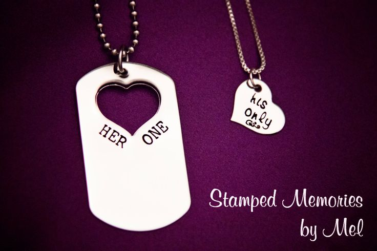 Her One His Only Dog Tag Set  The Original by StampedMemoriesbyMel, $40.00 I love this! Valentines day?(;