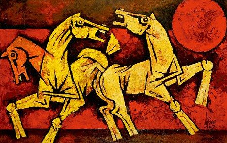 Bold: M.F. Husain's 'Three Horses' is one of the highlights of the bid