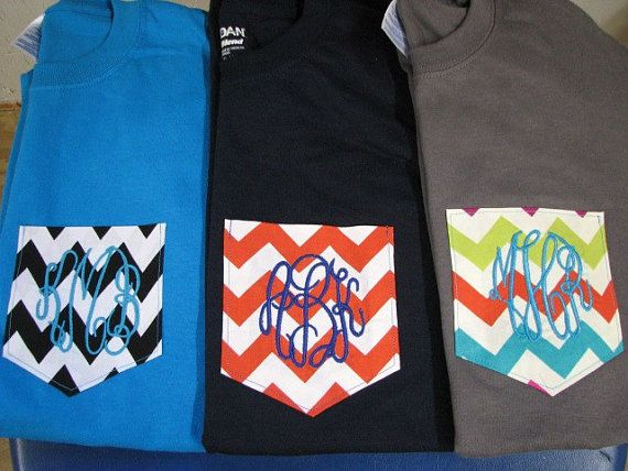 Monogrammed Gifts Chevron Pocket T Shirt  Tshirt Monogrammed Gifts  - Pocket Shirts-Tees - Many Colors - Adult Sizes - Embroidered