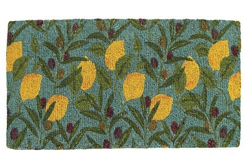 """Beautiful Indoor Outdoor Spring Home Accents - Handmade Coir Branch Door Mat, Teal/lemon/green - 18"""" X 30"""" . $55.99. Care: Shake, brush, or vacuum clean. Best maintained in a protected area. Size: 18"""" x 30"""". Color: teal/lemon/green. Handmade ; Made of:bleached coir (coconut fiber). Made in India. Beautiful handmade doormat. A cheerful array of fruits and flowers adorns this festive coir mat. The mat was made on the southwest coast of India from a natural, renewable fiber."""
