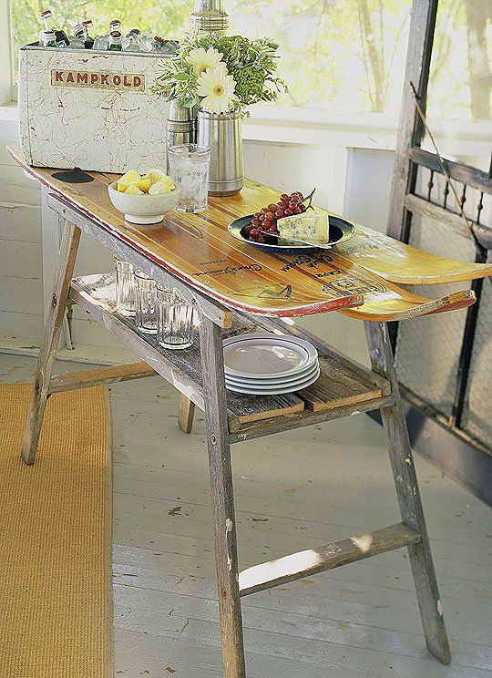 Skipping the slopes this season? Use an old set of water or snow skis to build a top for a handy serving table.
