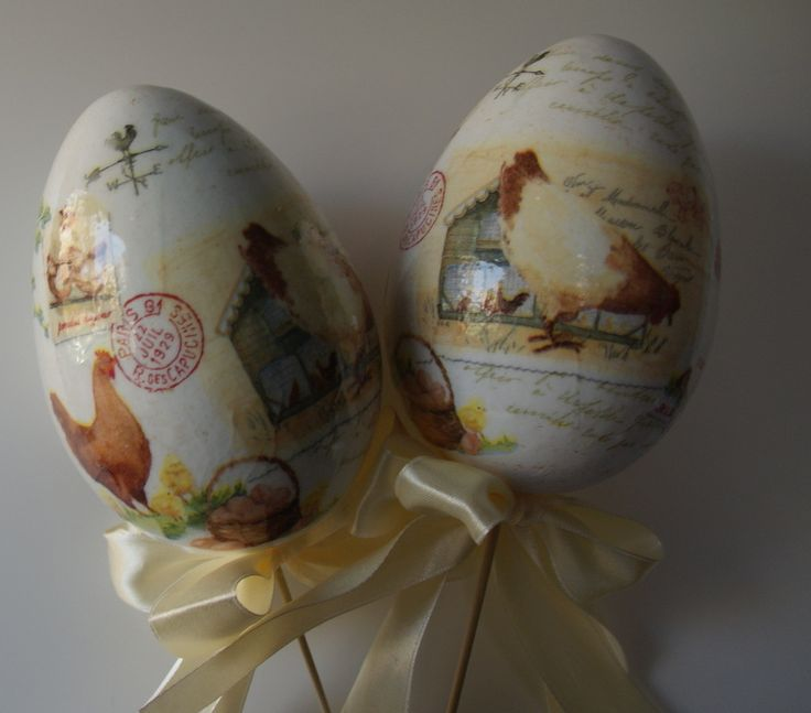 Decoupage eggs for Easter
