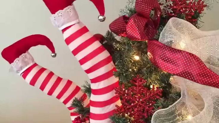 Add some whimsical humor to your holiday decor with these easy to make elf legs! Stuff them into a Christmas tree, a shrub outside or under a stack of presents!