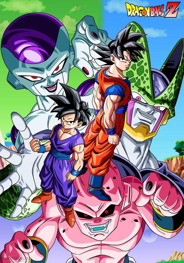 Dragon ball Z- Goku and Gohan vs Freeza, Cell and Kid Buu lineart, colour and background by me después de varias semanas trabajando en este poster lo he conseguido