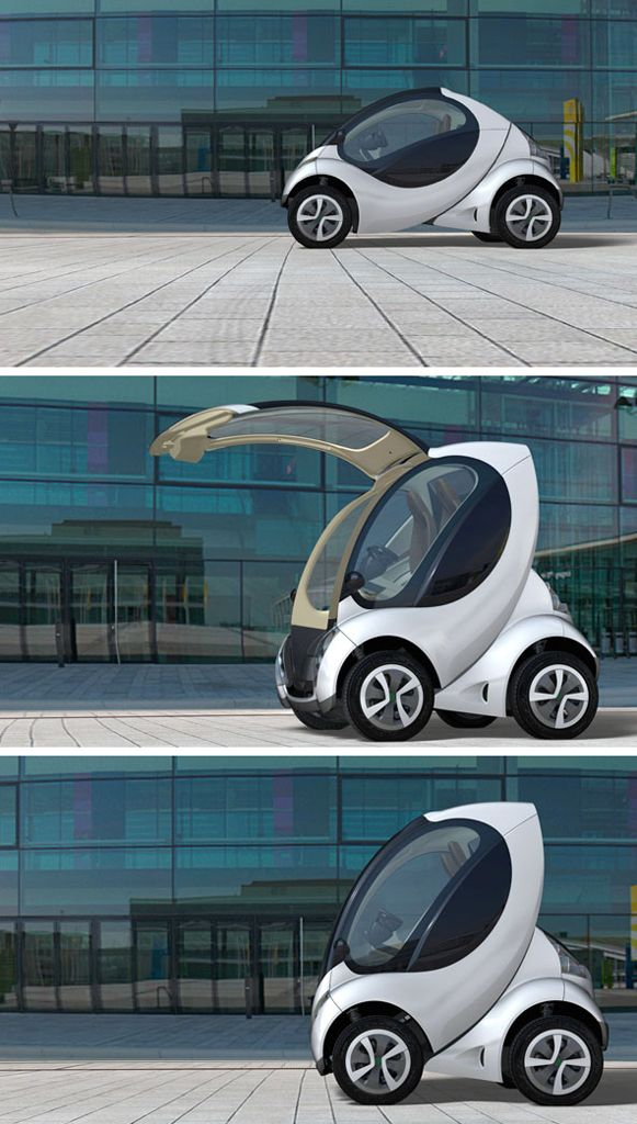 Hiriko Citycar (developed by MIT). When folded, it takes less than two thirds the length of a smart car!