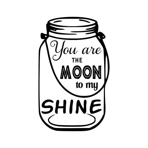 Digi-tizers Moon to my shine (SVG Studio V3 JPG)   We also make shirts, vinyl decals, wall art, koozies and more! If you would like any of our designs on a different item than listed please send me a message and I will see if we can accommodate you. *Note.. if you ordered a digital