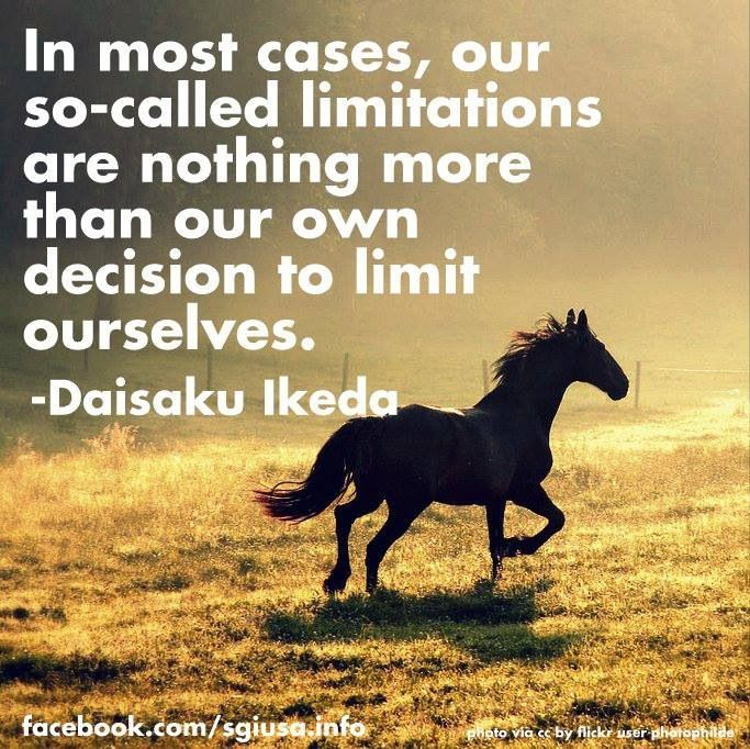 In most cases,our so called limitations are nothing more than our own decision to limit ourselves...Daisaku Ikeda Quote
