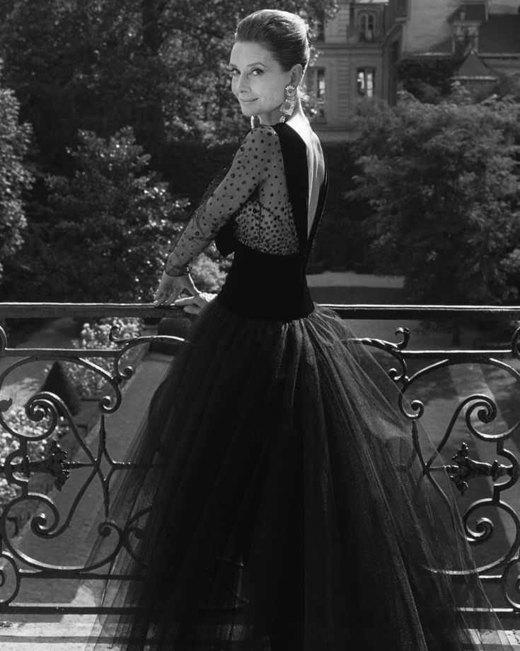 Audrey Hepburn, aged 62, photographed by Jean-Claude Sauer for Paris Match, wearing a gown by Givenchy to celebrate the fashion house's 40th Anniversary, 1991.