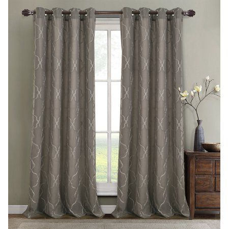 Crescent Embroidered 56 X 84 In Lined Grommet Curtain Panel