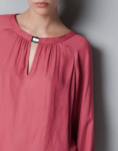 BLOUSE WITH JEWELLED NECKLINE - Shirts - Woman - ZARA