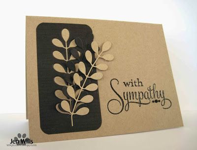 handmade sympathy card from JENerally Speaking ... kraft with black ... luv how she used the die cut branch for positive and negative cuts ...