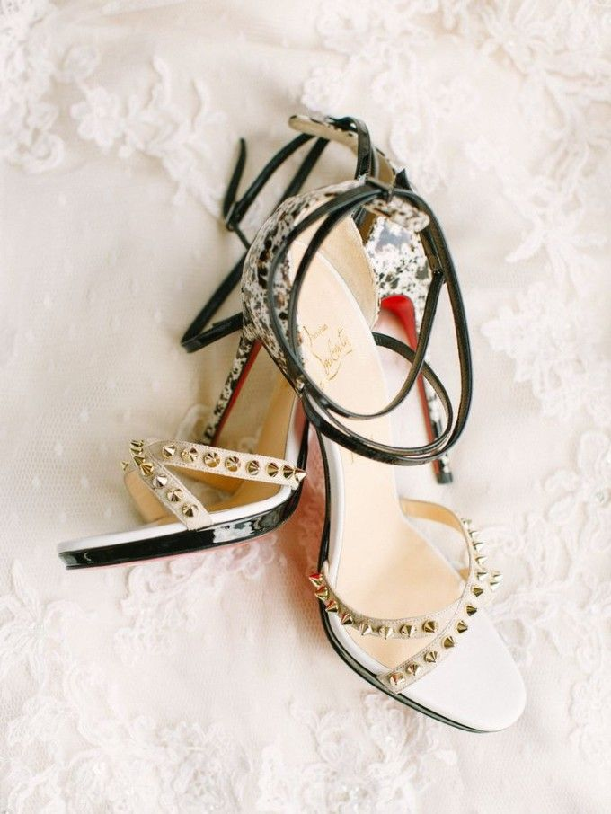 christian louboutin wedding shoes heels black speckled red studs spikes gold #bride
