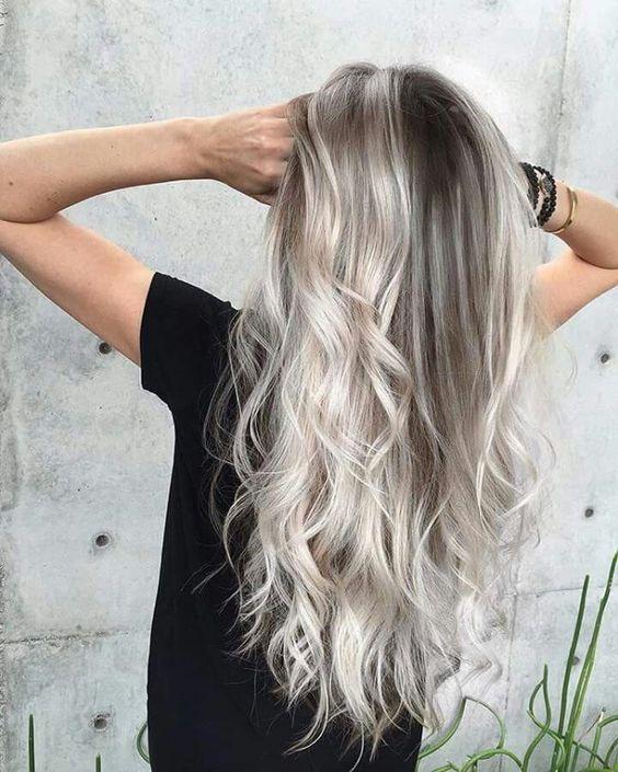 Blonde Grey And White Balayage On Darker Hair Hair Styles Ash Blonde Hair Hair