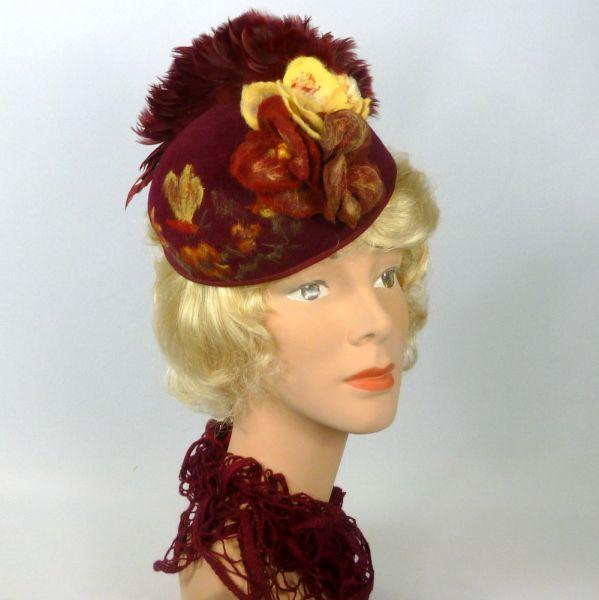 Wine Felt Pillbox Fascinator Hat  BY SHARON PANOZZO  #millinery #hatacademy