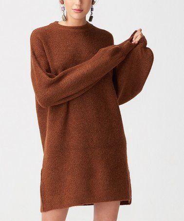 e6048280fd Another great find on  zulily! Brown Puff-Sleeve Sweater Dress - Women   zulilyfinds
