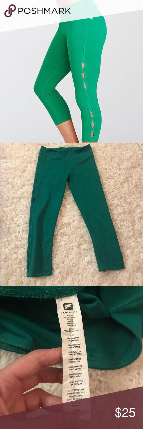 Fabletics cut-out leggings Fabletics cut-out leggings. Size CS. Emerald/kelly green. I really love these! The color is amazing but unfortunately they're too small. Perfect quality. Thick, supportive material. Bundle with my other fabletics leggings and make an offer! Fabletics Pants Leggings