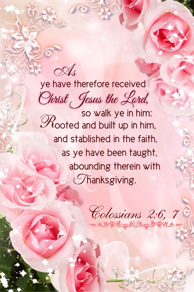 Colossians 2:6-7 KJV..... As ye have therefore received Christ Jesus the Lord, [so] walk ye in him: 7 Rooted and built up in him, and stablished in the faith, as ye have been taught, abounding therein with thanksgiving.