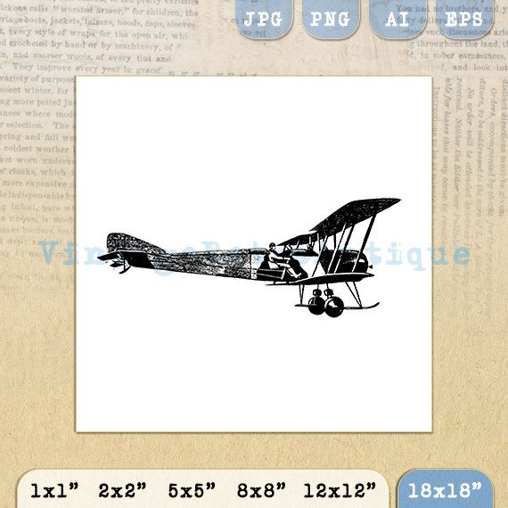 Plane and Pilot Digital Printable Download by VintageRetroAntique