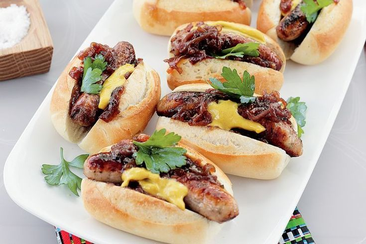 Barbecued sausage rolls with caramelised onions