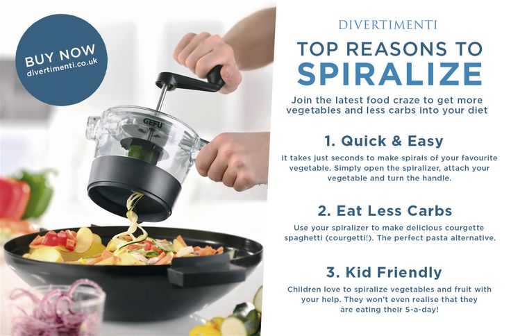 Top reasons why you need a spiralizer in your kitchen. Available now from divertimenti.co.uk http://www.divertimenti.co.uk/Cooks_Tools/Peelers_and_slicers/gefu-spiralfix-spiral-cutter.html?nomo=1
