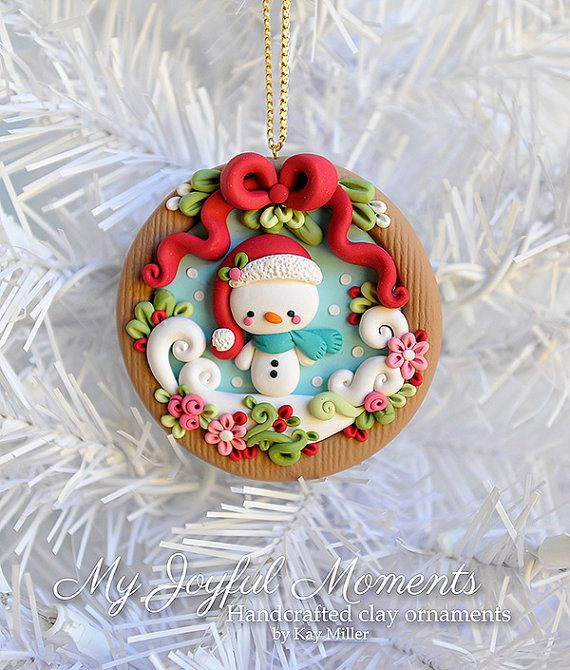 :: Crafty :: Clay ::☃ Christmas ☃:: Handcrafted Polymer Clay Christmas Snowman Scene Ornament