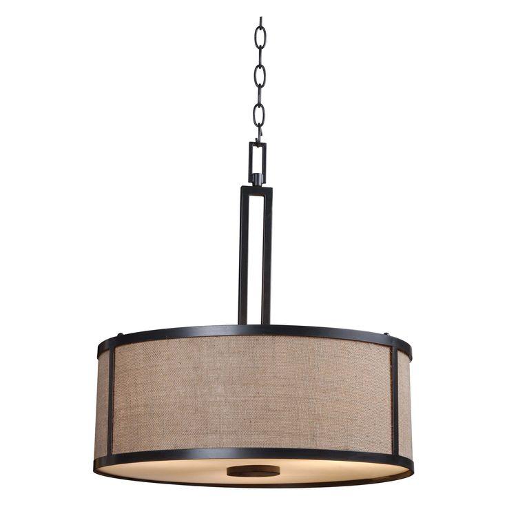 Kenroy Home Lighting Keen Bronze Pendant Light With Drum: Kenroy Home Keen 93363BRZ Pendant Light