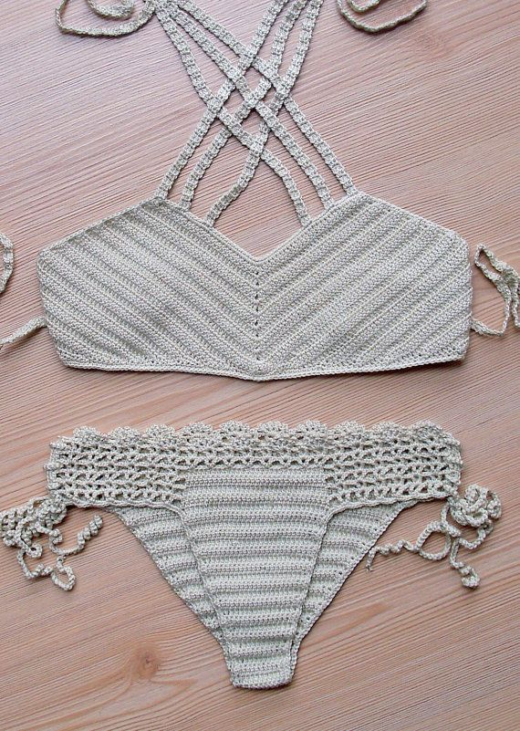 Crochet Beige Bikini, Women Swimwear, Beach Wear, 2015 Summer Trends. !!! FORMALHOUSE
