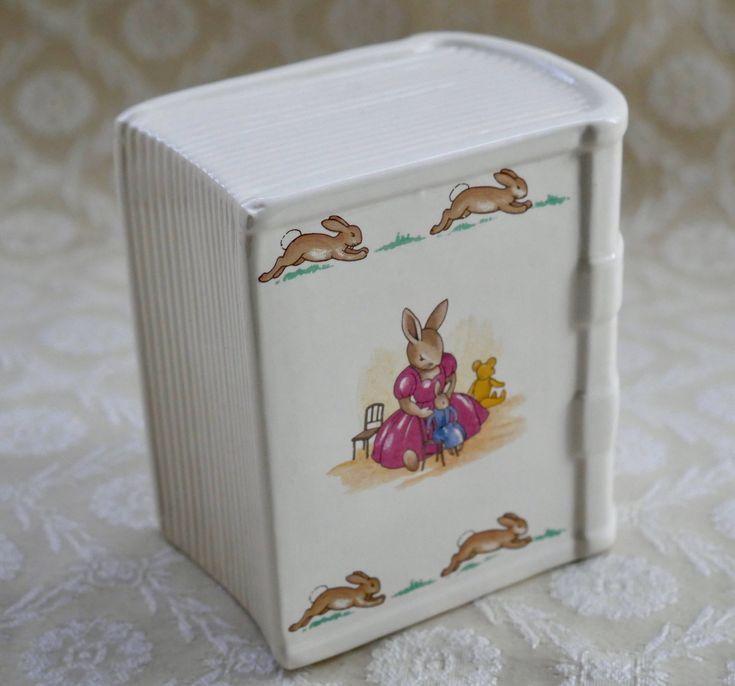 Bunnykins Money Box, Book Shape, Doulton Bunnykins, Royal Doulton, Vintage China, Savings Bank, Nursery Ware, Baby Gift, Nursery Decor by RetroEtCetero on Etsy https://www.etsy.com/listing/564529287/bunnykins-money-box-book-shape-doulton
