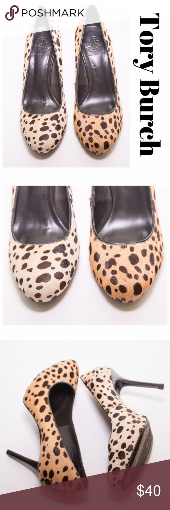 Tory Burch Mismatch Animal Print High Heels Size 7 Gorgeous one of a kind animal print mismatch shoes from Tory Burch.  The darker color is fury while the one is not.  Pre-loved and in great condition. Tory Burch Shoes