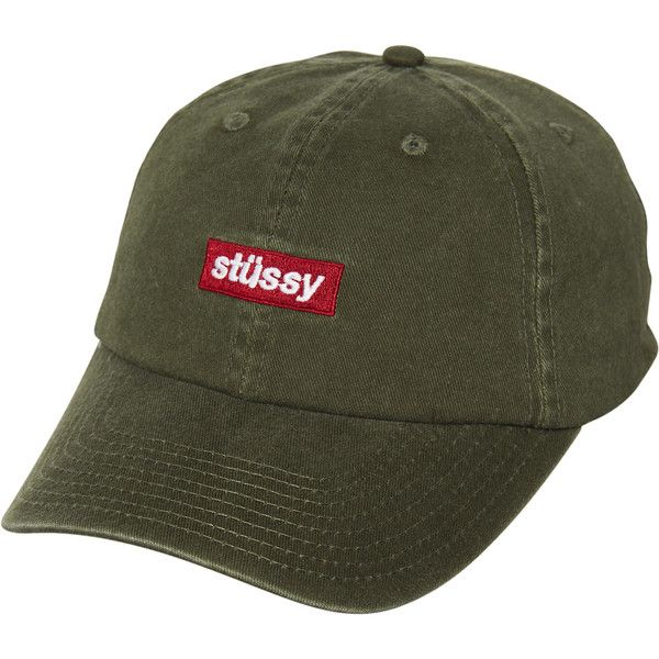 Stussy Box Italic Low Pro Strapback Cap Green ($31) ❤ liked on Polyvore featuring men's fashion, men's accessories, men's hats, accessories, green, headwear, men, mens green fedora hat, mens waxed cotton hat and mens hats