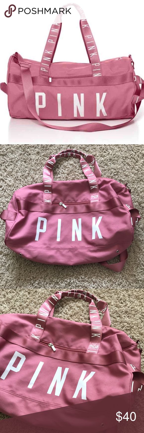 Victoria's Secret Pink Begonia Duffle Bag Victoria's Secret Pink Begonia Duffle Bag •In excellent condition, used once, from a smoke free home. Only flaw is a few small smudges as shown in the pictures •No longer sold in stores  Check out my other listings- Nike, adidas, Michael Kors, Kate Spade, Miss Me, Coach, Wildfox, Victoria's Secret, PINK, Under Armour, True Religion, Ugg Australia, Free People and more! PINK Victoria's Secret Bags Travel Bags
