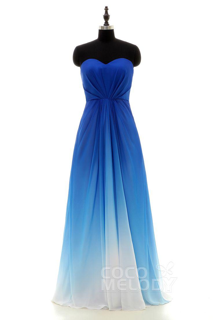 魅力的 ハートネック ナチュラル フロアレングス シフォン ロイヤルブルー ノースリップ ブライズメイドドレス プリーツ LOZF15045