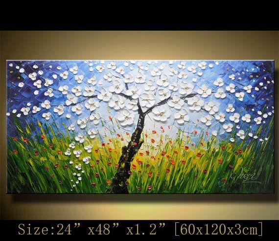 wall art Original Tree Art Textured Palette Knife by xiangwuchen