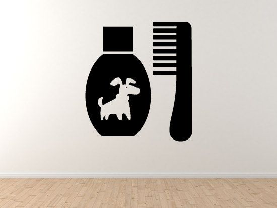 Dog #10- Pet Grooming Comb Doggy Veterinary Care Puppy Wall Vinyl Decal Home Decor