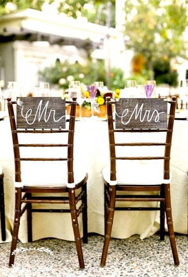 Wooden Mr and Mrs Signs Chair Signs / Bride and Groom Signs / Photo Props. via Etsy.