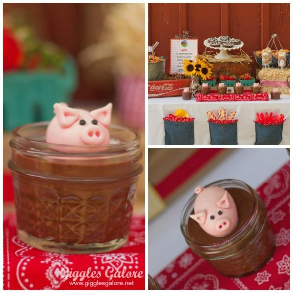 fondant pigs in chocolate pudding!! #Barnyard Party. {I DEFINITELY want these pig cups at his party! Too cute!!!}