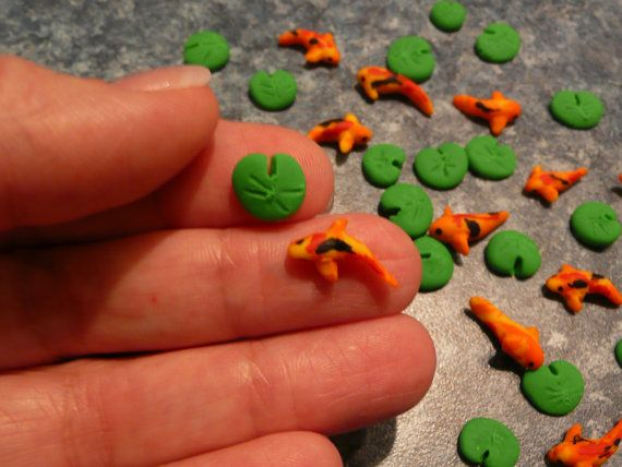 1 Miniature Koi Fish (or Goldfish) and 1 Miniature Lily Pad for Crafts or Tiny Resin Ponds