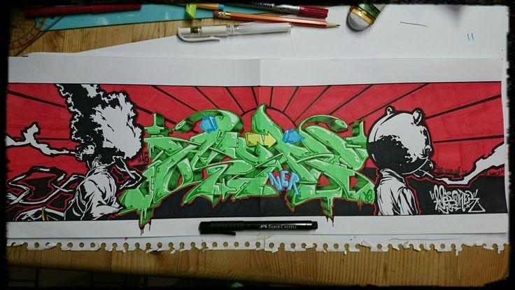Afro Samurai. One of my pieces. AsebOner! #graffiti #wildstyle # sketch #anime #samurai #afrosamurai