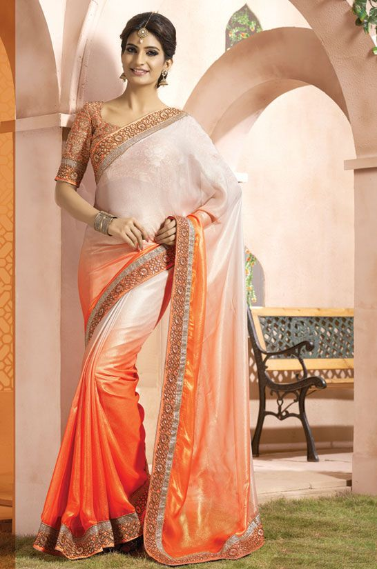 Serene Sunset Orange and Off White #Saree