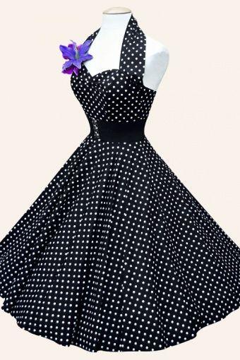 Zwarte jaren 50 halter jurk met witte stippen -Jaren 50 kleding | Jaren 50 jurken