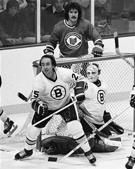 Gary Doak and Gerry Cheevers vs. Cleveland Barons.