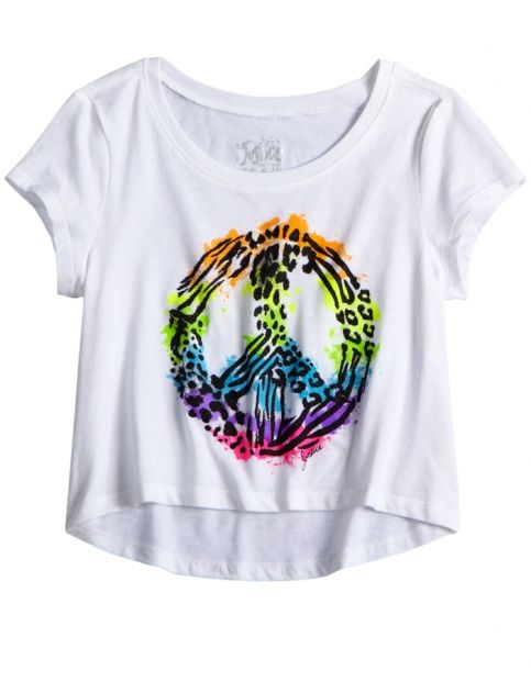 Animal Print Peace Cropped Graphic Tee | Girls Graphic Tees Clothes | Shop Justice