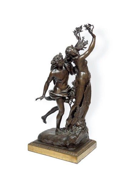 D'après Gian Lorenzo Bernini dit Le Bernin (1598-1680), Apollon et Daphné, groupe en bronze, 95 x 44 x 33 cm. Frais compris : 41 602 €. Toulouse, samedi 28 février. Primardéco SVV.